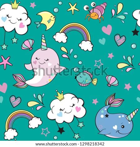 cute whale unicorn  rainbow and