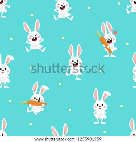 Cute white bunny and carrot seamless pattern. Rabbit animal cartoon character.