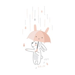 Cute white bunny animal with kawaii umbrella under the rain vector illustration isolated on white. Rainy weather graphics for Scandinavian childish nursery design.