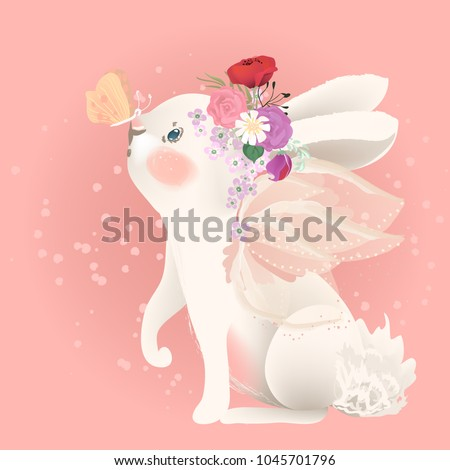 Cute white bunny with fairy wings floral, flowers bouquet, wreath and butterfly