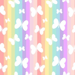 cute white butterflies on rainbow colorful stripes seamless vector pattern background illustration