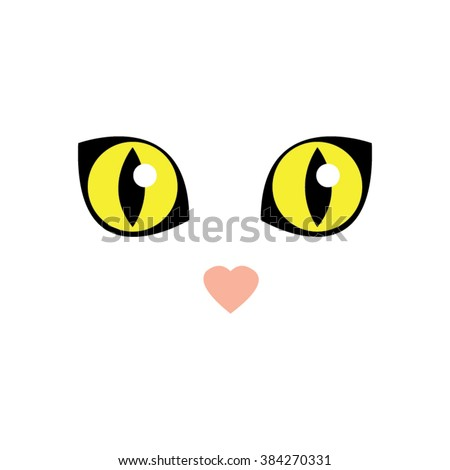 cute white cat eyes vector