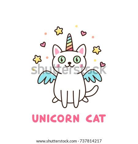 cute white cat in a unicorn