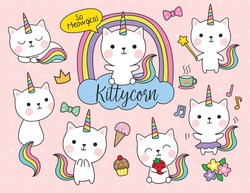 Cute white cat unicorn with rainbow horn and tail set including cute elements such as flower, ice-cream, cupcake, etc.