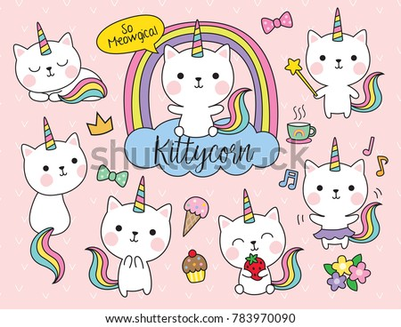 cute white cat unicorn with