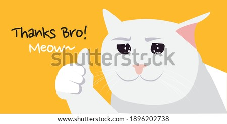 Cute white cat very touched, Thanks Bro! meow. premium vector Сток-фото ©
