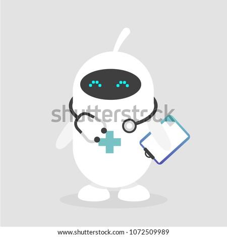 Cute white doctor robot. Modern health care. Flat editable vector illustration, clip art