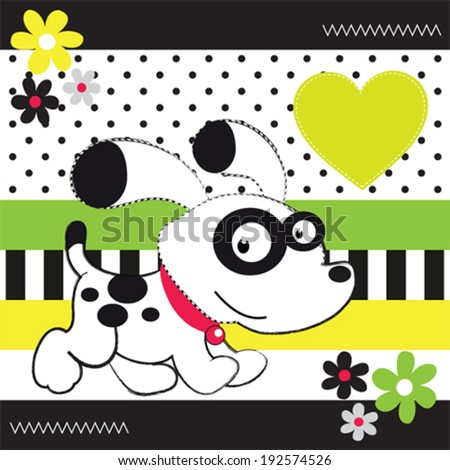 cute white dog striped background vector illustration