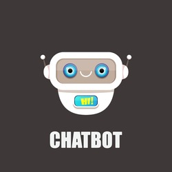 cute white paper chatbot character isolated on grey background. Vector Funny robot assistant, chatter bot, helper chatbot logo or label