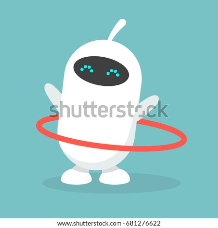 Cute white robot twirling a hoop / flat editable vector illustration, clip art