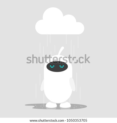 cute white robot weeping in the