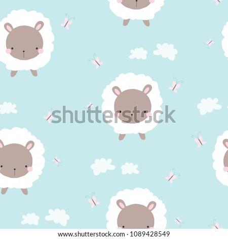 cute white sheep seamless