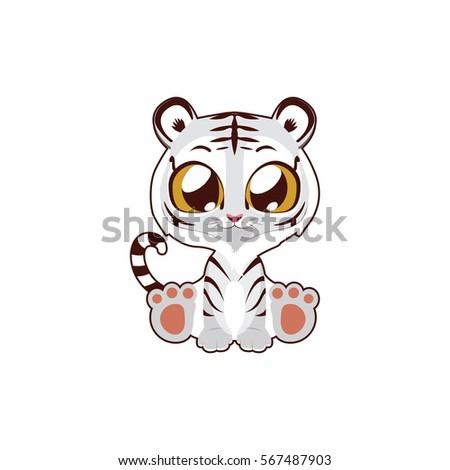 cute white tiger vector
