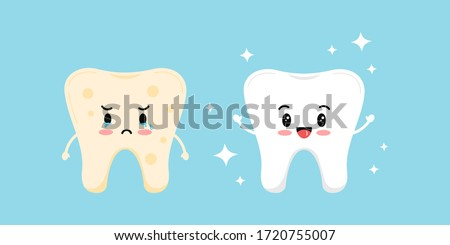 Cute white tooth and tooth with yellow plaque before, after icon set. Teeth stain treatment, cleaning, whitening concept. Flat cartoon emoji character vector illustration. Dental hygiene stained teeth