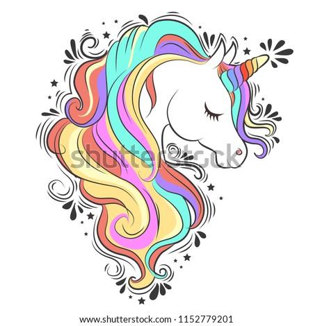 cute white unicorn with rainbow