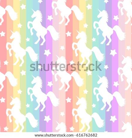 cute white unicorns silhouette