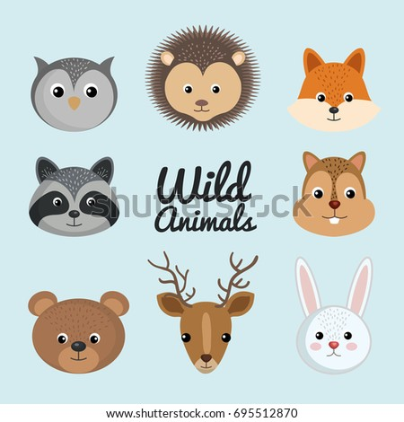 cute wild animal nature fauna set image