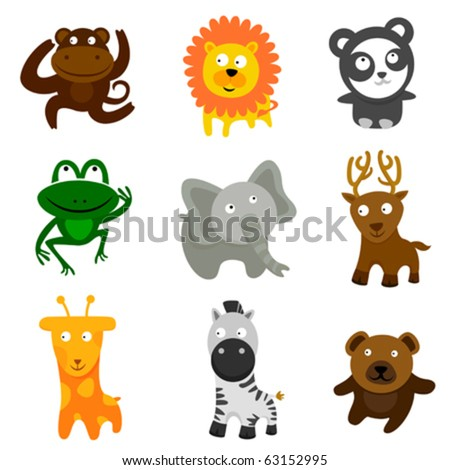 cute wild animals - stock vector