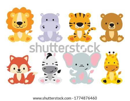 cute wild animals set including