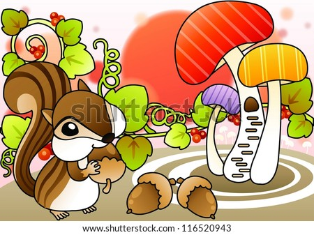 Cute Wild Squirrel and Beautiful Landscape - eating delicious nuts with a happy young squirrel in romantic garden on a white background : vector illustration