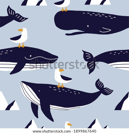 Cute wild Whale - Vector illustration. Cartoon whale, characters in scandinavian style for children. Seamless pattern with whale