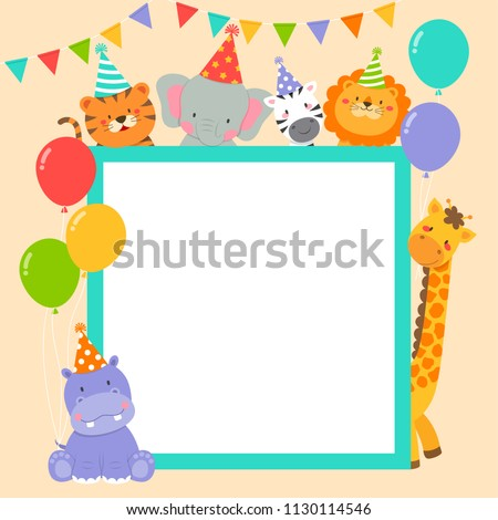Cute wildlife animals cartoon border for party invitation card template