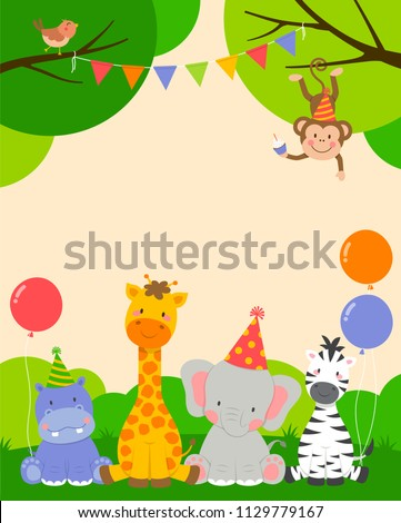 Cute wildlife animals cartoon illustration for party invitation card template