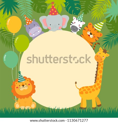 Cute wildlife animals cartoon with circle border for party invitation card template