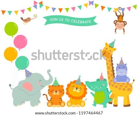 Cute wildlife cartoon animals border design for kids party invitation card template.