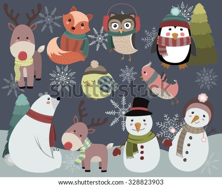 cute winter animals and snowmen