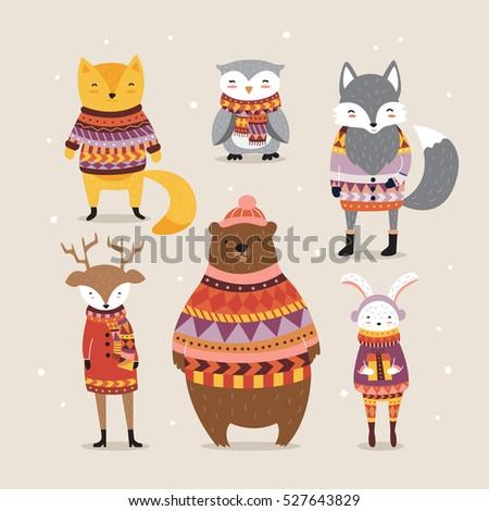 cute winter animals in boho