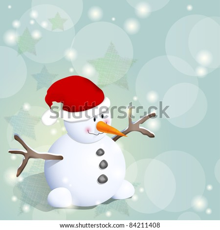 Cute winter background with snowman and stars