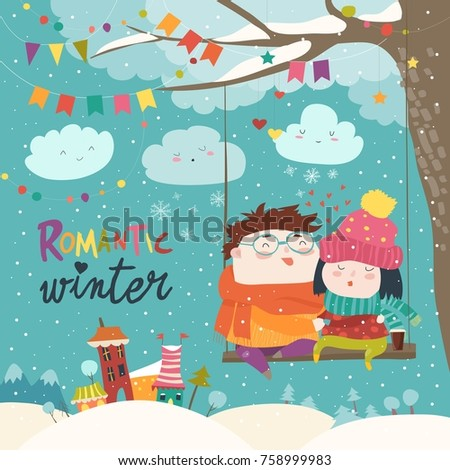 cute winter cartoon couple