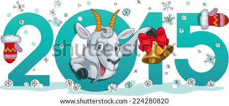 Cute winter chinese new year card with cute cartoon nanny-goat and 2015 figures