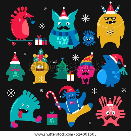cute winter holidays monsters