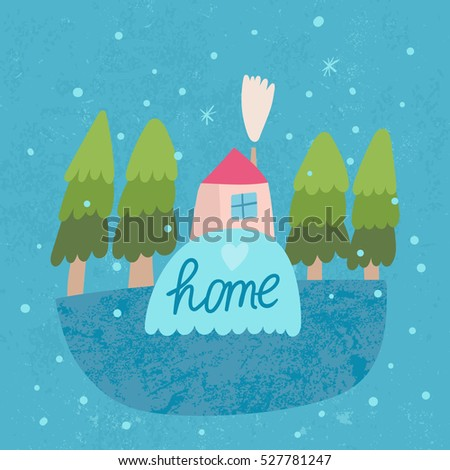 cute winter illustration with