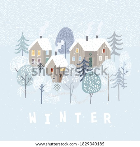 Cute winter landscape. Winter poster. Lovely houses in the winter forest.