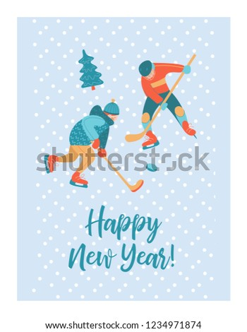 cute winter new year greeting