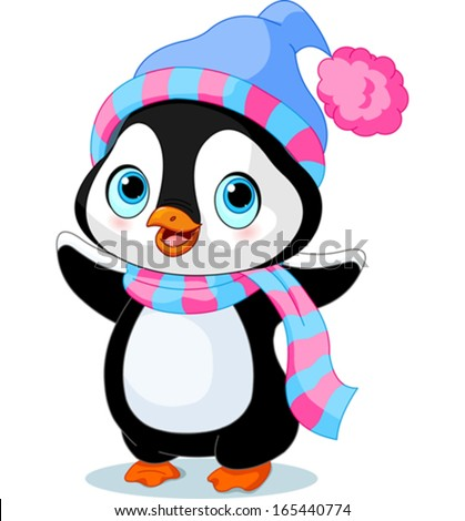 cute winter penguin with hat