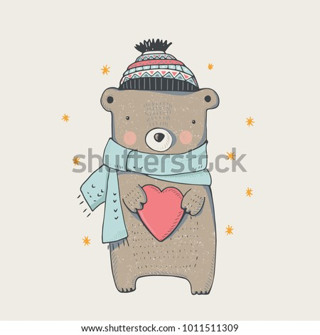 cute winter teddy bear hand