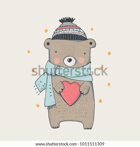 cute winter teddy bear,hand drawn vector illustration..Can be used for kids/babies shirt design, fashion print design,t-shirt, kids wear,textile design,celebration card/ greeting card, invitation card