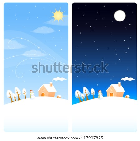 cute winter theme vertical banners with illustration of a snow landscape, snowman and small cottage - stock vector