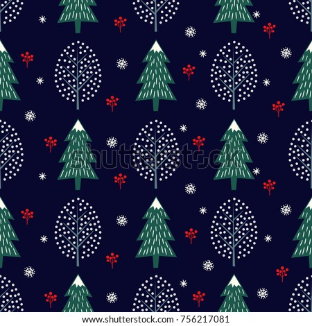 cute winter trees seamless