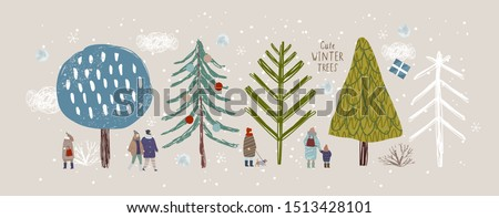 cute winter trees, vector isolated illustration of trees, leaves, fir trees, shrubs,  snow, people and clouds, New Year and Christmas objects and elements of nature to create a landscape