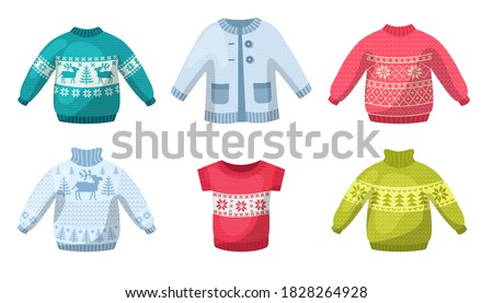 Cute winter warm knitted sweaters set. Christmas sweaters with festive winter year ornaments deer, snowman, spruce cartoon vector illustration. Wool knitting winter clothes