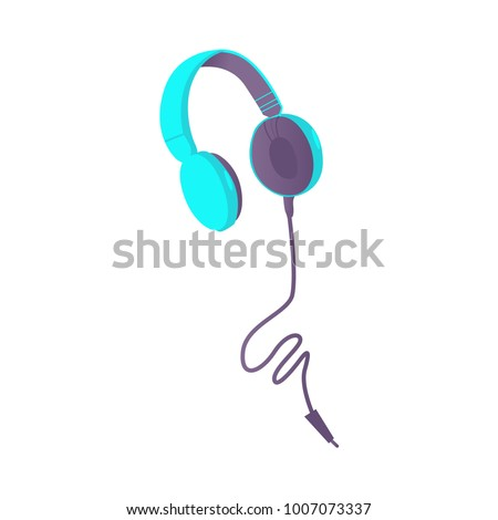 Cute wired headphones, earphones with cord and plug, flat style vector illustration isolated on white background. Flat style picture of blue wired headphones, earphones