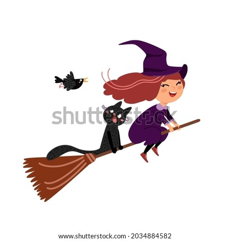 cute witch and little black cat