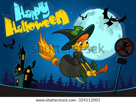 Cute witch flying on her broom. Vector Halloween banner