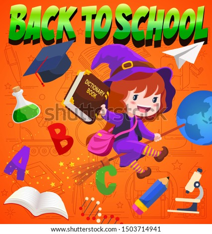 cute witch flying with broomstick or back to school with halloween themed illustration vector