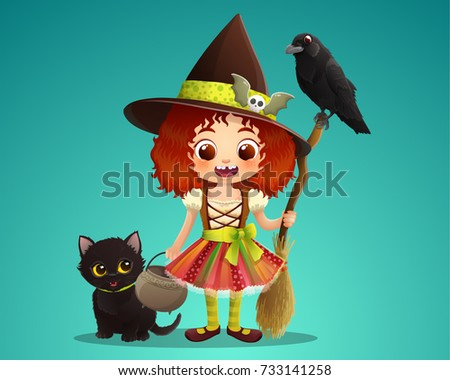 Stock Photo Cute witch holding broom and cauldron with black cat and raven